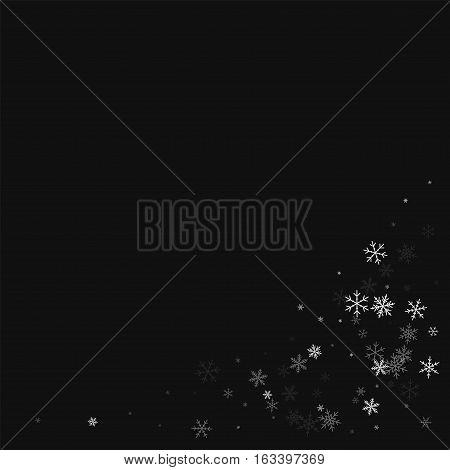 Sparse Snowfall. Bottom Right Corner On Black Background. Vector Illustration.