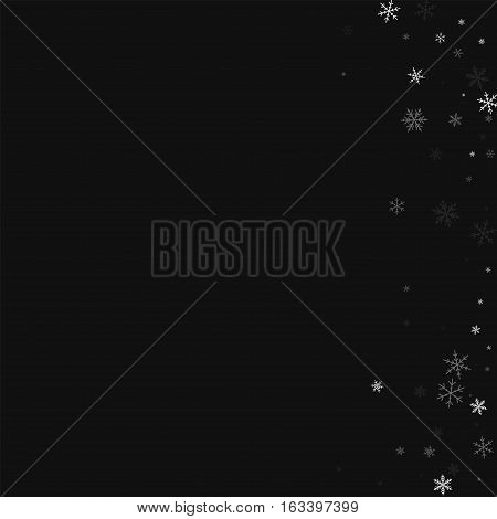 Sparse Snowfall. Abstract Right Border On Black Background. Vector Illustration.