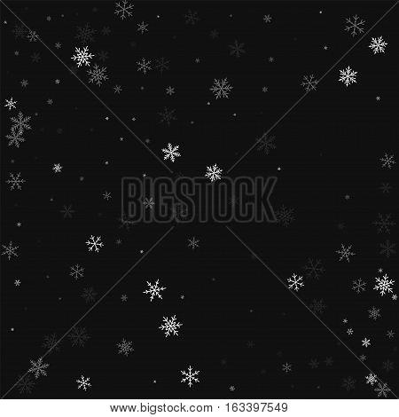Sparse Snowfall. Scatter Pattern On Black Background. Vector Illustration.