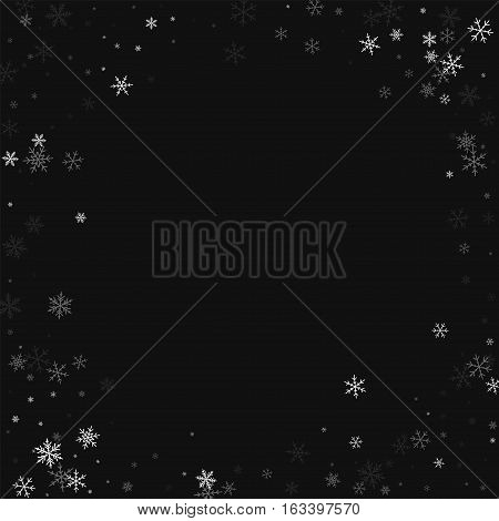 Sparse Snowfall. Bordered Frame On Black Background. Vector Illustration.