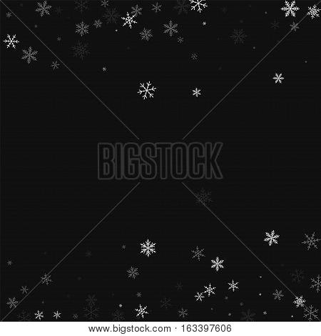 Sparse Snowfall. Scattered Border On Black Background. Vector Illustration.