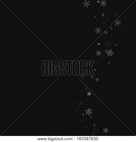 Sparse Snowfall. Right Wave On Black Background. Vector Illustration.