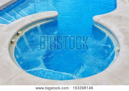Jacuzzi for massage, closeup, built-in pool Outdoors