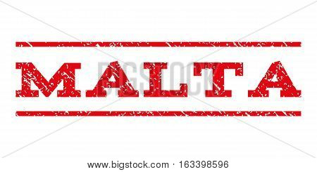 Malta watermark stamp. Text tag between horizontal parallel lines with grunge design style. Rubber seal stamp with scratched texture. Vector intensive red color ink imprint on a white background.