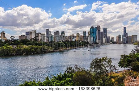 BRISBANE, AUSTRALIA - SEPTEMBER 9, 2012: Panoramic view of the city skyline with the Central Business District in Brisbane Australia