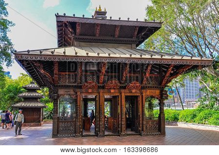 BRISBANE, AUSTRALIA - SEPTEMBER 9, 2012: Nepalese Pagoda an Asian sanctuary in Brisbane Australia