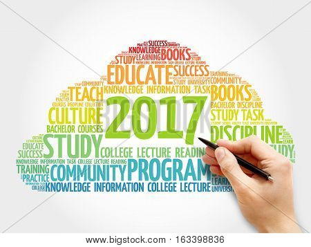 2017 Education word cloud business collage concept background