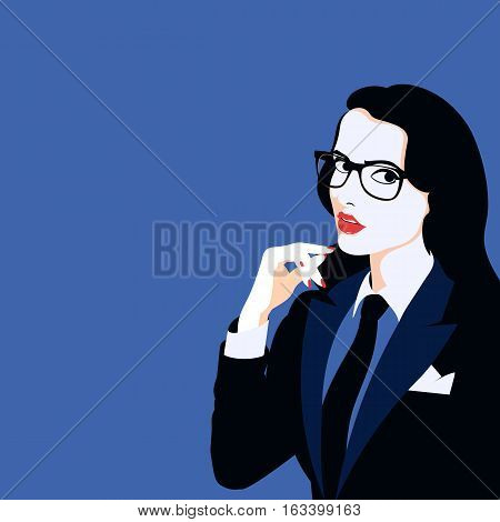 woman in glasses with hand near the face on a blue background
