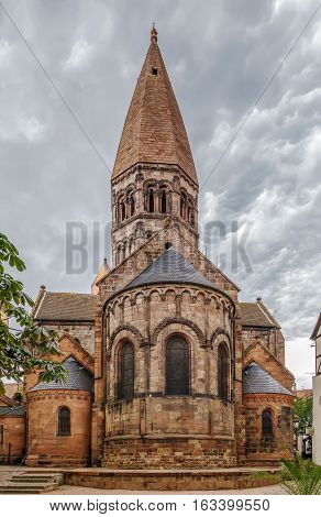 Church of Saint Faith of Selestat is a major Romanesque architecture landmark in Selestat along the Route Romane d'Alsace in the East of France. View from apse