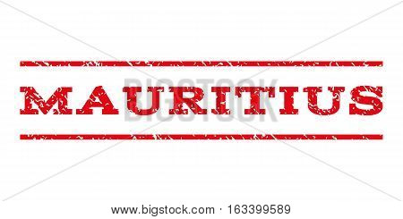 Mauritius watermark stamp. Text tag between horizontal parallel lines with grunge design style. Rubber seal stamp with dirty texture. Vector intensive red color ink imprint on a white background.