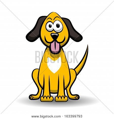 An illustration of a dog as a caricature on a white background.