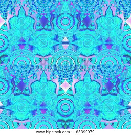 Abstract geometric seamless background. Regular concentric circle ornaments turquoise with elements in pink, violet and purple shades, ornate and dreamy.