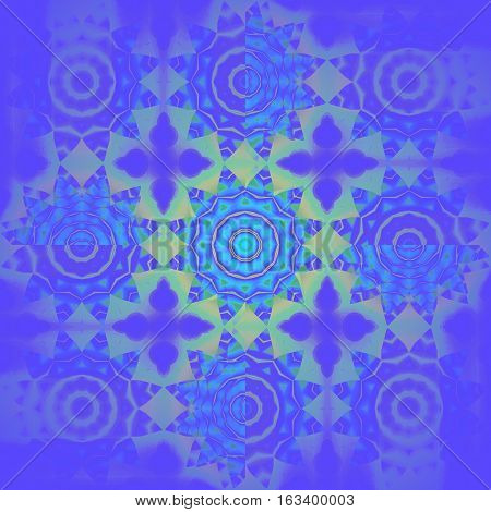 Modern geometric seamless background. Regular floral pattern. Different abstract blossoms in turquoise, blue, purple and light green shades, centered and blurred, ornate and dreamy.