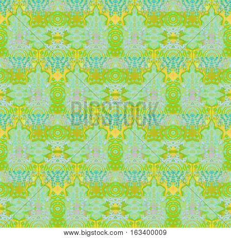 Abstract geometric seamless background. Regular concentric circle ornaments bright green with elements in yellow, gold, turquoise blue and violet on light blue, ornate and dreamy.