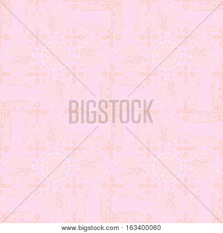 Abstract geometric seamless background in quiet colors. Regular white circles pattern and floral elements in apricot color on pink.
