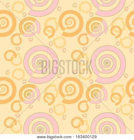 Abstract geometric seamless background. Regular spiral pattern pink, yellow and orange and orange on peach color, modern and dreamy.