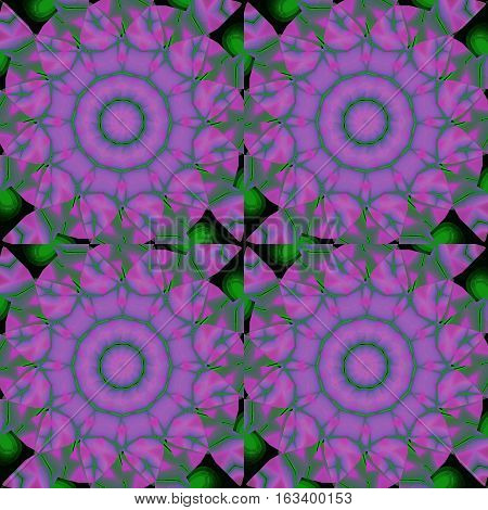 Abstract geometric seamless background. Regular floral circles pattern. Purple and violet blossoms with green leaves, ornate and dreamy.