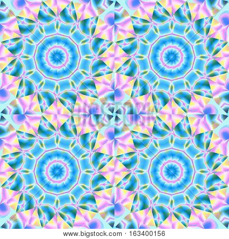 Abstract geometric seamless background. Regular floral circles pattern. Turquoise blue blossoms with pink, violet and yellow elements, ornate and extensive.