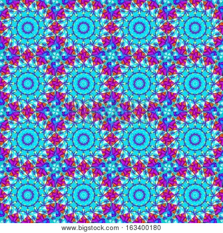 Abstract geometric seamless background. Regular floral circles pattern. Turquoise blue blossoms with purple, azure and orange elements, ornate and extensive.
