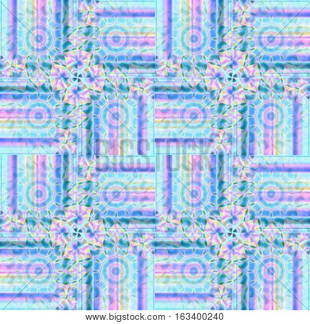 Abstract geometric seamless intricate background. Regular concentric circles pattern in violet, yellow, light blue, purple and green shades, ornate and dreamy.