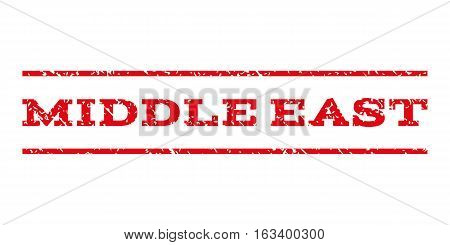 Middle East watermark stamp. Text caption between horizontal parallel lines with grunge design style. Rubber seal stamp with scratched texture.