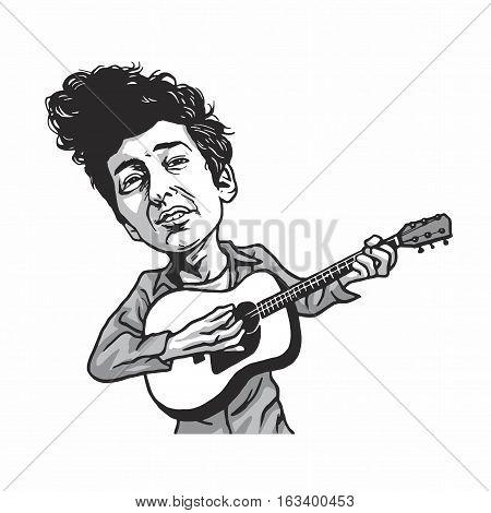 Bob Dylan Playing Guitar Cartoon Vector Caricature