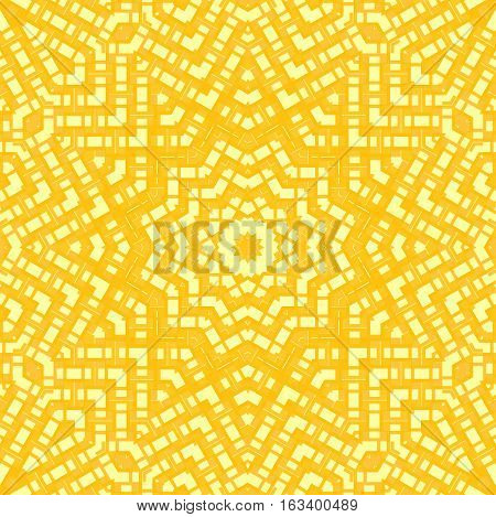 Abstract geometric seamless background. Regular centered star ornament in yellow shades, ornate and extensive.