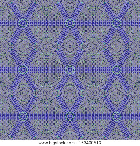 Abstract geometric seamless background. Regular hexagon and diamond pattern gray with dark blue and mint green elements, extensive netting.