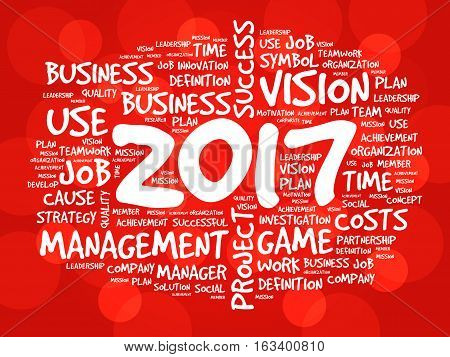 2017 Goals word cloud business concept background