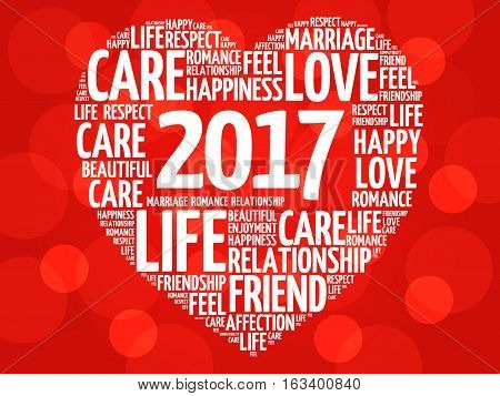 2017 Love and Happy concept heart word cloud