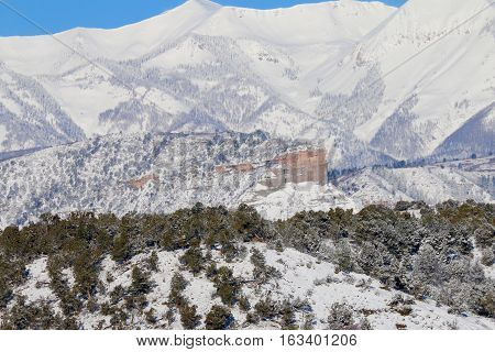 Snow blanket over the La Plata Mountains in Durango