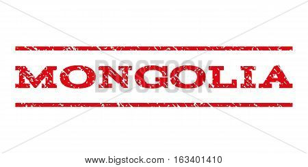 Mongolia watermark stamp. Text caption between horizontal parallel lines with grunge design style. Rubber seal stamp with dirty texture. Vector intensive red color ink imprint on a white background.