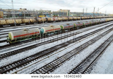 27.12.2016.Byelorussia.Gomel.At the Railway station there is a large number of freight trains.