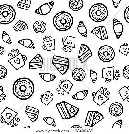 Doodles cute seamless pattern. Black vector background. Illustration with coffee, muffins and donuts. Design for T-shirt, textile and prints.