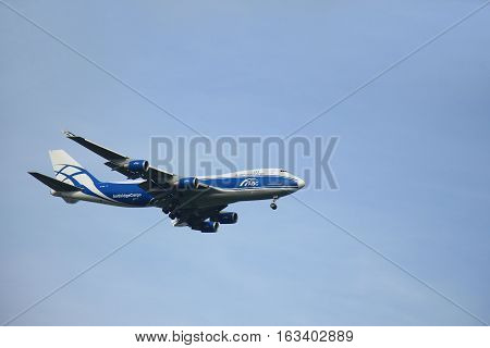 Amsterdam The Netherlands - August 10 2015: VP-BIM AirBridgeCargo Boeing 747-4HAF in flight approaching runway Polderbaan at Schiphol Amsterdam Airport