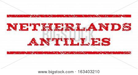 Netherlands Antilles watermark stamp. Text caption between horizontal parallel lines with grunge design style. Rubber seal stamp with dirty texture.