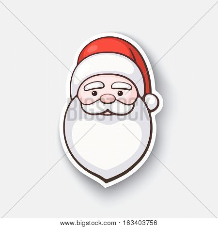 Vector illustration. The head of Santa Claus. Spirit of Christmas. Cartoon funny sticker in comic style with contour. Decoration for greeting cards, posters, patches and prints for clothes, flyers, emblems