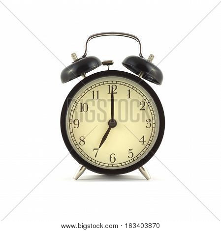 Alarm clock in black case shows 7 o'clock. Front view isolated on white close up