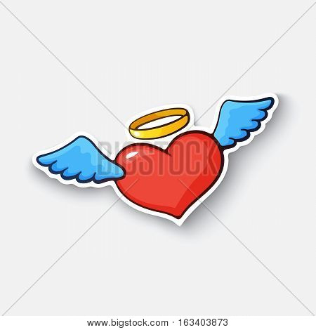Vector illustration. Angel heart with wings and a halo. Valentine's Day symbol. Cartoon funny sticker in comic style with contour. Decoration for greeting cards, posters, patches and prints for clothes, flyers, emblems