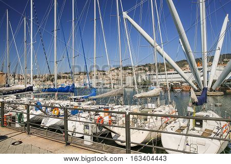 Boats in the harbour in Genoa Italy