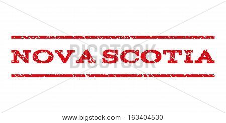 Nova Scotia watermark stamp. Text tag between horizontal parallel lines with grunge design style. Rubber seal stamp with unclean texture. Vector intensive red color ink imprint on a white background.