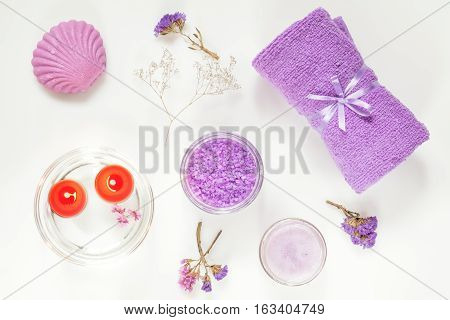 Spa Products. Flat Lay Violet Purple Concept.