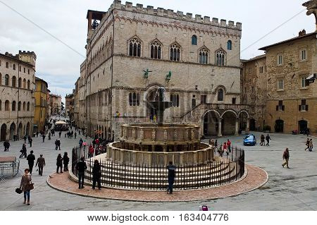4 may 2014-perugia-italy-the main square (4 novembre) in perugiaitaly