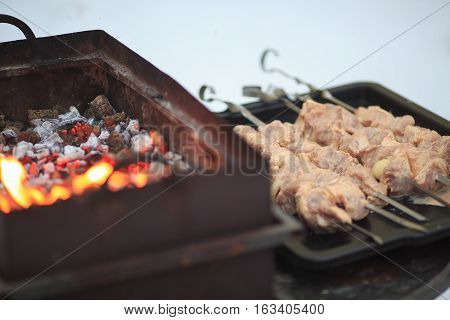 The pork shish kebab on skewers lies on baking sheets near a brazier in the winter on the backyard.