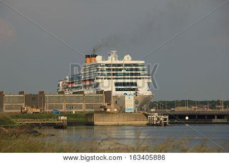 IJmuiden the Netherlands June 4th 2016: Costa Neo Romantica in IJmuiden lock between canal and North Sea