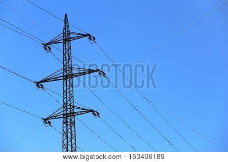 steel pylon high voltage power lines .