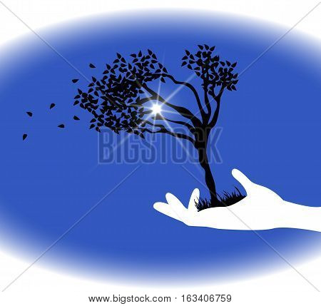 symbolic illustration of hands holding up a tree