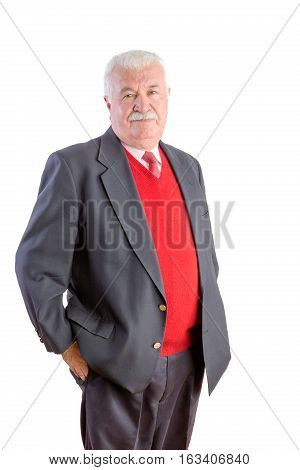 White Haired Senior With Red Sweater And Suit