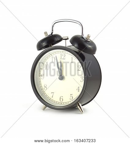 Almost twelve o'clock on alarm clock isolated on white close up