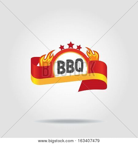 BBQ badge icon isolated concept. Freehand drawn logo sign template. Burger grill sticker. Round wreath shape frame with flame stars red ribbon emblem. Vector design idea of advertisement label symbol